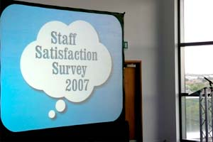projector screen displaying staff satifaction survey 2007
